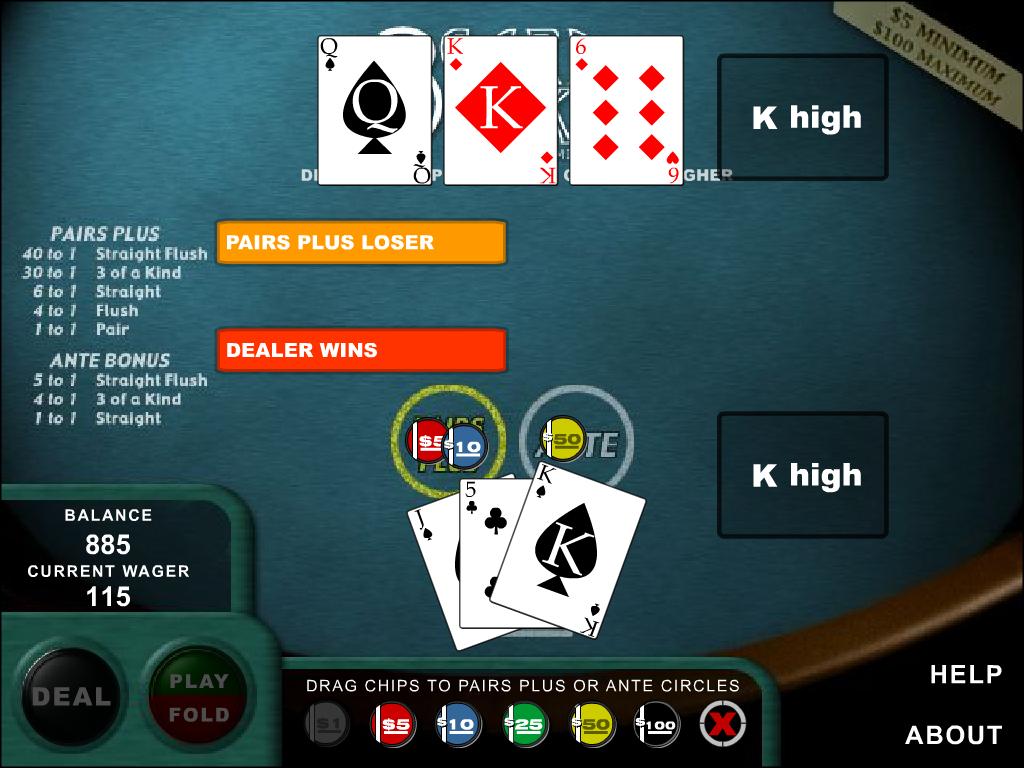 3 kortų pokeris