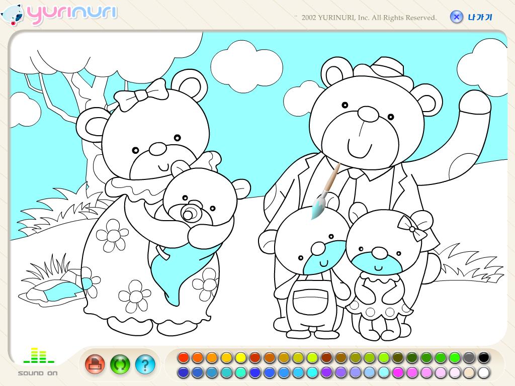 Meškinų šeimos spalvinimas